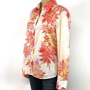 Tahari Cotton Long Sleeve Button Down Shirt